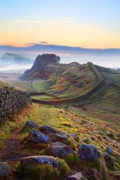 Hadrian's Wall, Northumberland, UK which the Romans started building in AD Photograph by Roger Clegg / El muro de Adriano, la frontera norte del imperio romano. Places Around The World, Oh The Places You'll Go, Cool Places To Visit, Places To Travel, Around The Worlds, Beau Site, Great Britain, Britain Uk, Beautiful Landscapes