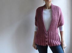 Womens Chunky Vest Pink Vest Long Sleeved Hand door bysweetmom