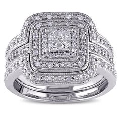 Miadora Sterling Silver 3/8ct TDW Diamond Princess-cut Halo 3-piece Bridal Ring Set