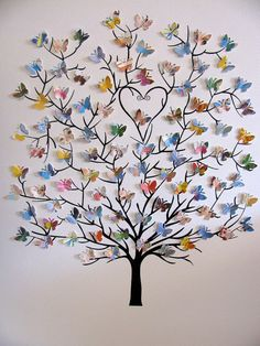 8x10 Tree of 3D Mini Butterflies using Upcycled Love You