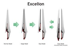 Sword - Excelion by Rxl-Noir on DeviantArt Anime Weapons, Sci Fi Weapons, Weapon Concept Art, Fantasy Weapons, Cool Knives, Knives And Swords, Konosuba Wallpaper, Mecha Suit, Cool Swords