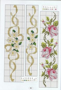 Cross stitch - flowers: California poppies (free pattern - chart - part C) Cross Stitch Bookmarks, Cross Stitch Borders, Cross Stitch Rose, Cross Stitch Flowers, Cross Stitch Charts, Cross Stitch Designs, Cross Stitching, Cross Stitch Embroidery, Cross Stitch Patterns