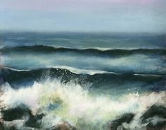 Hello, I spent the day in LBI last week and it was the most perfect day.  I took tons of photographs of the crashing waves, one of my favorite subjects.  This is a pastel I did with a more dreamy approach, no hard edges. Enjoy!