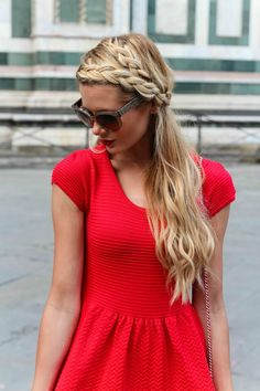 Braided hair, red dress, and red and gold clutch #DIY