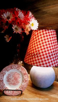 Faux Blue Jean Paint Finish and Gingham lamp Shade.