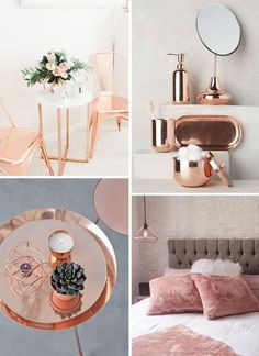 A very rose gold inspired mood board. The photos perfectly represent this stunning color within your decor.