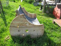 Meuble canapé-hamac, bois de touret et toile de coton