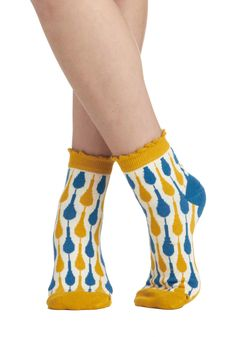 Shop 'Til You Droplet Socks - White, Multi, Print, Ruffles, Cotton and two of my favorite colors.
