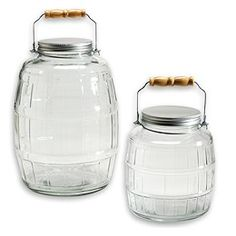 The Container Store > Glass Barrel Jars with Aluminum Lids.  I don't know what I'd do with a 2.5 gallon glass jar, but I want one!