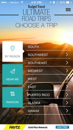 Handy roadtrips app for your travels, with 75 Great American Drives. From our friends at @budgettravel.
