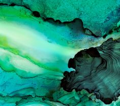 Teal and emerald greens show the layered depths of the ocean and its activity in this highly saturated watercolor and ink painting. The fluidity shows a visible energy of the active surf. . . . . . . . . . . . . . . . . Giclee print on archival-quality paper. A reproduction of a