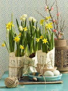 Frühlingsdeko mit Narzissen: 6 farbenfrohe Bastelideen Daffodils are real cheeks and spread a good mood. We have six colorful deco ideas for you with which spring can come. Spring Decoration, Decoration Table, Blue Lotus Flower, Newspaper Crafts, Deco Floral, Color Crafts, Container Flowers, Deco Table, Warm Colors