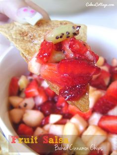Fresh Fruit Salsa with Baked Cinnamon Chips - Fresh fruit drizzled with sweet jam served with buttery, cinnamon chips, fragrant from the oven…