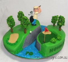 Golfing 70th Birthday Cake by Custom Cake Designs