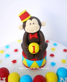 Circus Cake Topper Fondant monkey with by EdibleDesignsByLetty