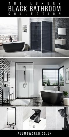 Shop our luxury black bathroom collection at Plumbworld. Monochrome bathrooms have definitely become more popular in recent years, so we have combined all our black bathroom essentials into one place for easy shopping! Loft Bathroom, Dream Bathrooms, Beautiful Bathrooms, Bathroom Shop, Small Bathrooms, Bathroom Design Luxury, Bathroom Collections, Bathroom Trends, Villa