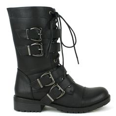 Black flat lace-up combat ankle-boots with buckled belts decor #cutesyoriginals
