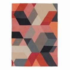 Teppich Kumily // TEPPICH KUMILY  Koralle/Grau/Eierschale, in geometrischem Muster  Schussfaden: Wolle, Kettfaden: Baumwolle