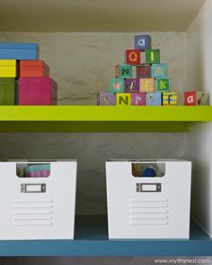 Fun storage is a must in a playroom. #storage #playroom