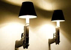 9mm and AK 47 Ceramic Gun Lamps by Loaded Objects Ceramics. James Bond themed light fixtures!