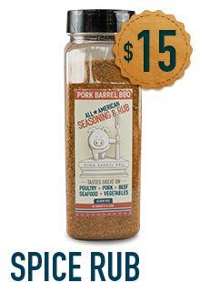 Pork Barrel BBQ All-American Spice Rub – 19 ounce Chef Shaker - Pork Barrel BBQ