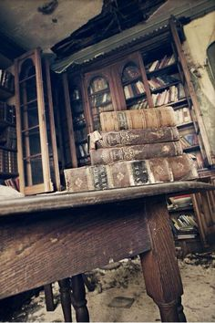 Abandoned library? What? Did the owner die of the plague?  Even then, surely there's a way....