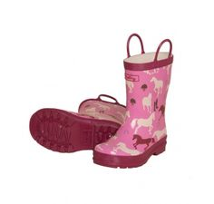 Hatley Pretty Plaid Horses Wellies. Pink girls welly boots. £21.95 from Wellies and Worms