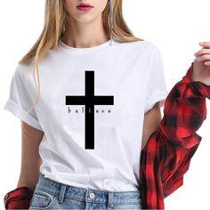 Women's Christian Printing Cross T Shirt Short Sleeve Faith Clothing Christian Clothing, Christian Shirts, Christian Women, Loose Fit, Loose Tops, Cross Shirts, Short Tops, Summer Tops, Cute Shirts