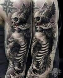 What does valkyrie tattoo mean? We have valkyrie tattoo ideas, designs, symbolism and we explain the meaning behind the tattoo. Skeleton Tattoos, Skull Tattoos, Body Art Tattoos, Viking Tattoo Sleeve, Norse Tattoo, Realistic Tattoo Sleeve, Angel Of Death Tattoo, Angel Warrior Tattoo, Viking Warrior Tattoos