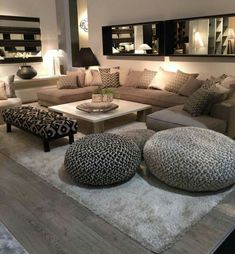 ideas home cozy living room lights Cozy Living Rooms, Home Living Room, Interior Design Living Room, Living Room Designs, Living Room Decor, Apartment Living, Living Room Layouts, Ottoman In Living Room, Modern Interior