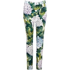 Dolce & Gabbana Hydrangea-print Cropped Trousers - Size 12 (€700) ❤ liked on Polyvore featuring pants, capris, dolce gabbana pants, cropped pants, patterned trousers, print pants and print crop pants