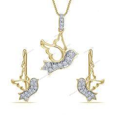 """Free Pouch"" 925 Silver D/VVS1 Diamond Flying Sparrow Bird Pendant 18"" Chain…"