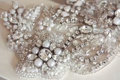 Hand Beaded Flora Wedding Gown Sash