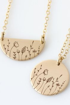 What to get mom this Mother's Day? Beautiful gold minimalist wildflower necklaces for layering together or gifting to a friend, your mom, grandmother or yourself. Engraved and hand-assembled, you can choose between 14k gold fill, rose gold fill, or sterling silver for a custom piece of jewelry for her.