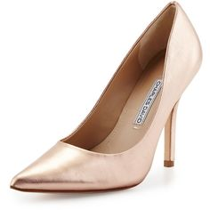 Charles David Sway II Metallic Pointed-Toe Pump ($115) ❤ liked on Polyvore featuring shoes, pumps, heels, sapatos, rose gold, high heel pumps, slip on shoes, leather sole shoes, metallic leather pumps and leather pumps