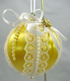 Yellow Satin Ball Christmas Ornament