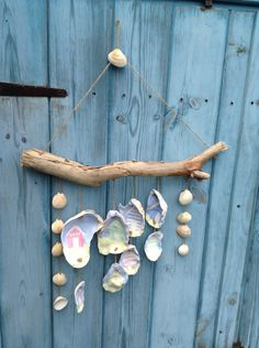 Handpainted beach hut s on oyster shells driftwood windchime