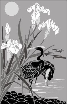 Japanese Egret & Iris Panel stencils, stensils and stencles