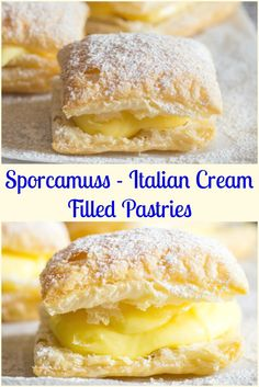 A delicious Italian Pastry Cream filled Puff Pastry Square, Sporcamuss, a traditional recipe from Southern Italy, fast easy and so good.  via @https://it.pinterest.com/Italianinkitchn/