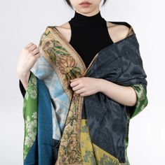 A patchwork of deliciously pretty prints, this floral shawl draped casually across the shoulders can transform your outfit. True to the brand's aesthetic, the shawl is rife with contrasting colors and experimental prints that create a unique feast for the senses. Must Have Items, Mixing Prints, Shawl, Kimono Top, Floral Prints, Secret Location, Saree, Silk, Create