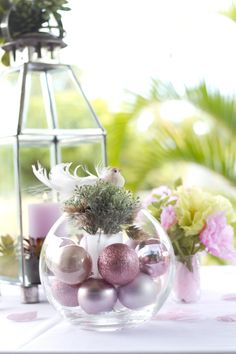 Bird sitting on pink and green succulents, and pink baubles in a clear round vase. Pink and Green. Photo Credit : A. Mordant - Click to read full instructions on how to do here: http://www.wedotahiti.com/how-to-decorate-a-winter-themed-table #tahitiweddingplanner #tahitiweddingpackage