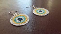 christmas gift, Earings Handmade, turkish Oya, Crochet earings, Jewelry Handmade,Bohemian jewelry, Wedding Gift, Fashion, blue bead