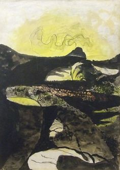 'Road Mounting between Hedges: Sunrise', 1949 by Graham Sutherland (English Landscape Drawings, City Landscape, Landscape Paintings, Landscapes, Modern Art, Contemporary Art, Wallpaper Magazine, Sculpture Art, Sculptures