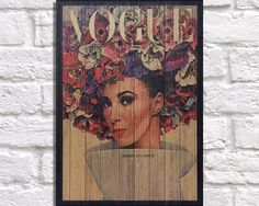 Vintage wooden magazine cover art, 1960's Vintage Vogue / magazine / flowers panel effect art print, baked onto a wood sheet. by Woodprintz on Etsy https://www.etsy.com/listing/249466958/vintage-wooden-magazine-cover-art-1960s