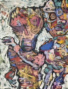 Jean Dubuffet Vieille reine et courtisan 1961 Paris Circus painting. Exceptional.
