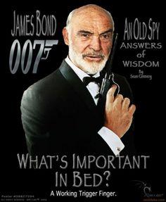 whats important in bed ? James Bond 007 finger demotivational poster