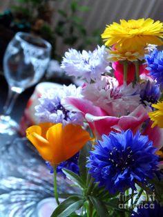 'Fresh Flowers' - photograph. #redbubble #photo #foto #kuva #flowers #bild #blue #yellow #bloom #floral #flowersforever #color #colorfulimages #joy #freshflowers
