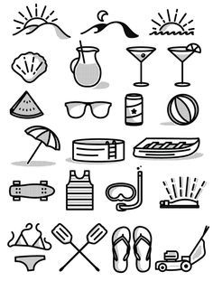 Free Summer Icon Set by Tim Praetzel, via Behance Metaphors for free time and vacation!