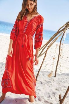 Buy Red Embroidered Maxi Dress from the Next UK online shop