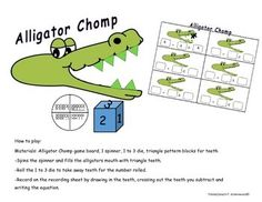 How to play:Materials: Alligator Chomp game board, 1 spinner, 1 to 3 die, triangle pattern blocks for teeth-Spin the spinner and fill the alligators mouth with the number the spinner lands on with triangle pattern block pieces for teeth on the large alligator gameboard.  -Roll the 1 to 3 die to take away teeth for the number rolled.-Record on the recording sheet by drawing in the teeth, crossing out the teeth you subtract and writing the equation.